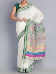Buy White-Green Matka Silk Handowoven Jamdani Saree Online at Jaypore.com Dhakai Jamdani Saree, Cotton Saree Designs, Silver Jewellery Online, White Saree, Soft Silk Sarees, Sarees Online, Embroidery Designs, Cover Up, Sari