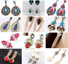 New 1 Pair Elegant Women Vintage Style Fashion Rhinestone Dangle Stud Earrings