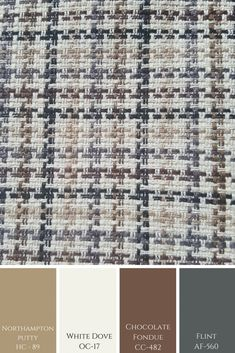 A simple stitched looking pattern here shows a more masculine colour combination in tones by Benjamin Moore. Greige Paint Colors, Neutral Paint Colors, Room Paint Colors, Benjamin Moore Paint, Benjamin Moore Colors, Color Schemes Colour Palettes, Color Combinations, White Doves, Creative Colour