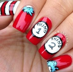 Thing 1 and thing 2 nails!! #thecatinthehat #thing1 #thing2 I'm thing 2!!!