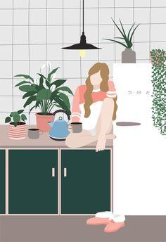 Art Print Kitchen Plants Illustration Wall Art Home Kitchen Plants, Art Et Illustration, Animal Illustrations, Illustrations Posters, Feminist Art, Plant Art, Pics Art, Photomontage, Aesthetic Art