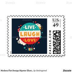 Modern Flat Design Hipster Illustration With Postage Stamps