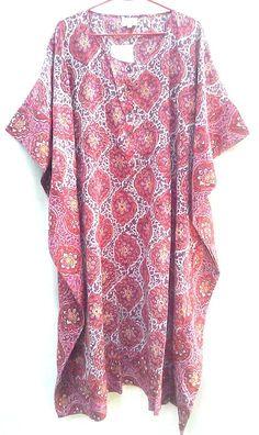 Raspberry pink 2 Tone Floral Jali style Anokhi Hand block print Boho chic Indian cotton Kaftan Tunic top One Size