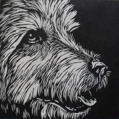 Dog Linocut Print by Rowanne Anderson http://www.etsy.com/uk/people/Rowanne?ref=pr_profile http://www.rowanneanderson.com/ Tags: Linocut, Cut, Print, Linoleum, Lino, Carving, Block, Woodcut, Helen Elstone, Animals, Dog