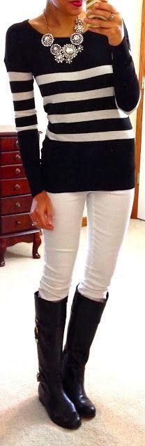 Amazing Black and white stripes sweater and white skinny jeans fashion inspiration | Fashion World