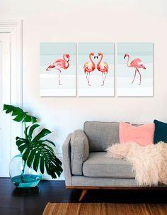 Tríptico con Flamencos. Los cuadros con animales se han puesto de moda en los últimos tiempos. #cuadros #cuadrosmodernos #cuadrosdecorativos #flamencos #wallart #deco Leaf Wall Art, Wall Decor, Room Decor, Woman Cave, Acrylic Art, Print Pictures, Printable Art, Canvas Art, Canvas Ideas