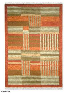 Wool rug, 'Modern Orange' by NOVICA