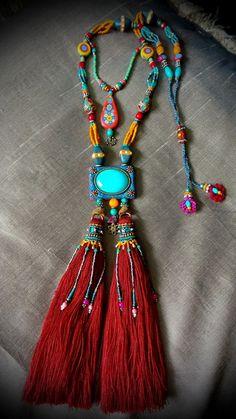 Bohemian Jewelry ~ Handmade Polymer clay beads & pendent