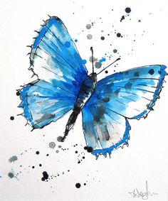 Blue butterfly tattoo, butterfly artwork, butterfly painting, watercolor ca Easy Butterfly Drawing, Butterfly Artwork, Butterfly Painting, Butterfly Watercolor, Watercolour Painting, Blue Butterfly Tattoo, Butterfly Tree, Watercolor Water, Blue Tattoo