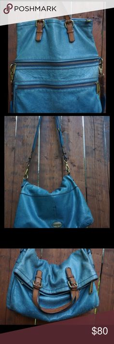 Blue fossil explorer tote Good condition blue fossil explorer tote. Super soft and great color! Fossil Bags Crossbody Bags