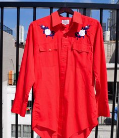 Vintage Men's Red Western Shirt with Pearl Buttons by GuidoInLA