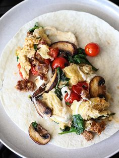 A scrambled egg and sausage breakfast burrito definitely sounds good for a busy morning.