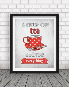 Kitchen decor Kitchen wall art Kitchen prints Tea by BlackPelican