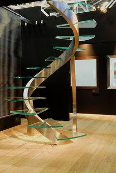 Escada de vidro com metal sem com design moderno