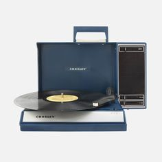 For the vintage-loving nostalgic who also embraces the current market, the Crosley Portable USB Turntable allows you to listen to vinyl and podcasts with equal ease. Features a standard three-speed turntable that's iPod ready with usb capabilities. Wes Anderson, Lps, Rock And Roll, Usb Turntable, Recent Technology, Record Players, New Homeowner, Blue Design, Retro Design