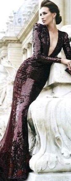 Gowns With Sleeves, Zuhair Murad, Shoulder Pads, Sequin Dress, Sequins, Formal Dresses, Purple, Burgundy, Cinema
