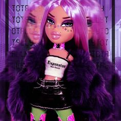 ✨Classic, expensive, you don't get to touch, ow!✨ (SWIPE) Makeup up inspired by ! Go check this legend out! Outfit whise I was very inspired by ! Badass Aesthetic, Bad Girl Aesthetic, Purple Aesthetic, Bratz Doll Makeup, Bratz Doll Outfits, Black Bratz Doll, Bratz Girls, Brat Doll, Grunge
