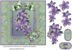 """Flowers, Lace and Ribbons 7"""" x 7"""" card front"""