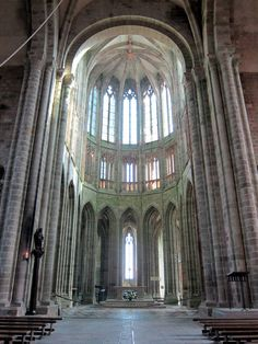 William of Volpiano (Italy, CE) architect Romanesque Church, Mont St. Michel, France An interior view of the Mont St. Mont Saint Michel France, Romanesque Art, The Mont, Middle Ages, Contemporary Artists, Trip Planning, Medieval, Cathedral, Waterfall