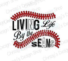 Living by the Baseball seams svg / baseball cut file / baseball svg / baseball life svg / dxf / eps / pdf / sports life svg / love sports Baseball Signs, Baseball Crafts, Baseball Quotes, Baseball Mom Shirts, Baseball Party, Softball Mom, Baseball Season, Sports Shirts, Baseball Live