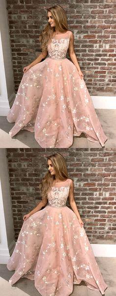 pink long prom dress, lace evening dress, formal dress