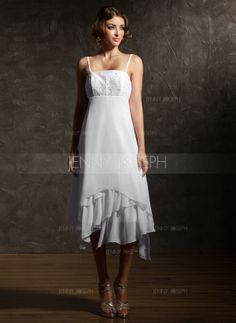 Corte imperial Asimétrico Gasa Vestido de novia con Encaje Cascada de volantes (002000024)