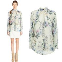 ST401 New 2014 Spring Fashion Tops Vintage Blue Floral Print Chiffon Blouse Brand Ladies Slim Long Sleeve Shirt Women Clothing US $14.99