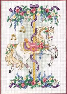 Cross-stitch Carousel Horse, part 1 of 3 Cross Stitch Horse, Dragon Cross Stitch, Cross Stitch Animals, Counted Cross Stitch Kits, Cross Stitch Charts, Cross Stitch Designs, Cross Stitch Patterns, Cross Stitching, Cross Stitch Embroidery