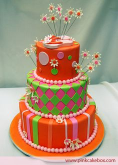 Whimsical Summer Cake by Pink Cake Box in Denville, NJ.  More photos and videos at http://blog.pinkcakebox.com/flower-cake-2006-06-17.htm