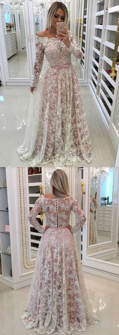 Fascinating Lace Off-the-shoulder Neckline Long Sleeves A-line Prom Dress With Beaded Lace Appliques #promdresseslong