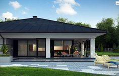 Projekt Domu z378 - Gotowe Projekty Domów Modern Bungalow House Plans, Modern House Design, Tree Seat, Bungalow Extensions, House Plans Mansion, Yard, Mansions, How To Plan, Outdoor Decor