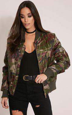 Alexus Green Camouflage Bomber Jacket - Coats & Jackets - PrettylittleThing | PrettyLittleThing USA