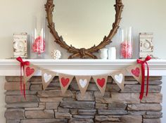 Valentines Day Burlap Banner Painted Heart by BurlapandTwineCo