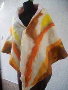 Triangular felted big scarf by FeltWorld51 on Etsy, $39.90