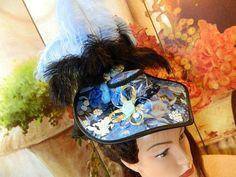 Zylinder - Damenhut blau Schute Minihat Gothic Steampunk Hut - ein Designerstück von Nashimiron bei DaWanda