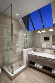 Modern Spaces Bathroom With Tile Railing Design, Pictures, Remodel, Decor and Ideas