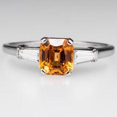 Vintage Vivid Orange Sapphire Engagement Ring Baguette Diamonds - Platinum