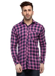 Best quality cotton checkered shirts for men for casual outings @ Formal Shirts For Men, Online Shopping Websites, Trouser Jeans, Workout Shirts, Men Casual, Menswear, Mens Fashion, Purple, India