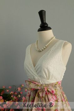 My lady II - Spring Summer Sundress White Lace Top Pale Olive Green Skirt Pink Floral Bridesmaid Dress Floral Party Dress Tea Dress XS-XL