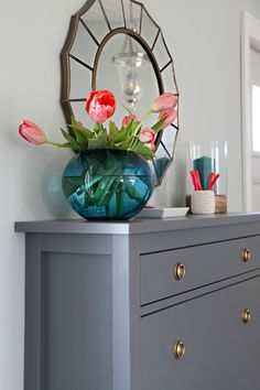 Steps to paint ikea furniture:  I brought our island door sample to Sherwin Williams and had them color match to their ProClassic Enamel paint