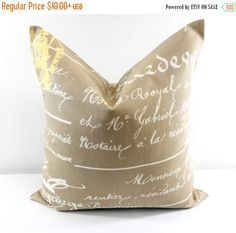 SALE ENDS SOON Penmanship Pillow Cover. by TwistedBobbinDesigns