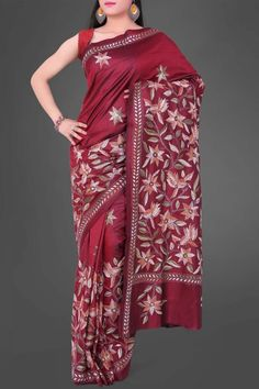 Maroon Kantha Soft Silk Saree
