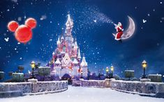 Natal e Ano Novo, o castelo da Disney, neve voadora Papéis de Parede - 2560x1600