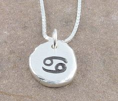 Cancer Zodiac Necklace,Organic Rustic Recycled Sterling Silver Zodiac Jewelry/FREE SHIPPING