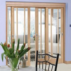 Thruslide Worcester Oak - 3 Sliding Doors and Frame Kit - Clear Glass - Prefinished - Lifestyle Image. Internal Sliding Doors, Sliding Glass Door, Track Door, Mdf Frame, Door Kits, Clear Glass, Interior, Worcester, Barn Doors