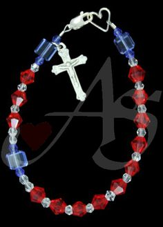 Congrats to Rosana who won the 1st place drawing on Friday night.   Enjoy this wonderful sterling silver rosary bracelet that celebrates our FREEDOM! Something to be cherished!
