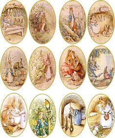 Vintage Beatrix Potter rabbit bunny 12 oval stickers scrapbooking crafts glossy #Handmade