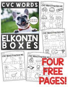 Enjoy 4 FREE elkonin box worksheets to help your students practice CVC words! Teaching Phonics, Phonics Activities, Teaching Reading, Classroom Activities, Classroom Ideas, Teaching Resources, Teaching Ideas, Jolly Phonics, Student Reading