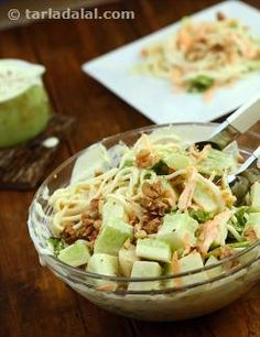 Bananas in fruit salad are expectable, but this is a total surprise! A mind-boggling combination of banana, cucumber and boiled noodles along with lettuce and carrots transforms into a very exciting salad when topped with salad cream and crunchy walnuts. You will experience a splurge of flavours and textures in every mouthful of this Banana, Noodle and Cucumber Salad as a wonderful chemistry plays out between starkly different ingredients.