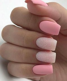 There are three kinds of fake nails which all come from the family of plastics. Acrylic nails are a liquid and powder mix. They are mixed in front of you and then they are brushed onto your nails and shaped. These nails are air dried. Matte Nail Art, Pink Nail Art, Blue Nail, Matte Pink Nails, Pink Glitter Nails, Glitter Eye, White Nails, Square Acrylic Nails, Best Acrylic Nails